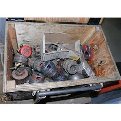 BOX OF RIDGID PIPE DIES