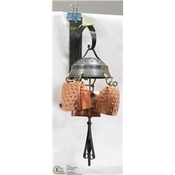 RUSTIC WALL MOUNT 3 COPPER COWBELL WIND CHIME