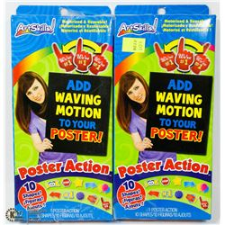 LOT OF 2 ARTSKILLS POSTER ACTION MOTORIZED SHAPE