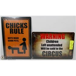 "LOT OF 2 NEW 12""X8"" TIN SIGNS - CHICKS RULE &"
