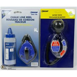 CHALK LINE REEL SOLD WITH A BATTERY TESTER
