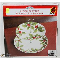 HOLIDAY TIME 2 TIER PLATTER
