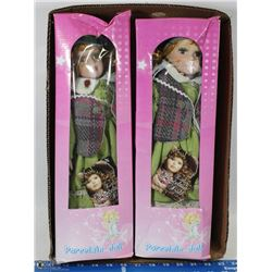 BOX W/2 COLLECTIBLE PORCELAIN DOLLS