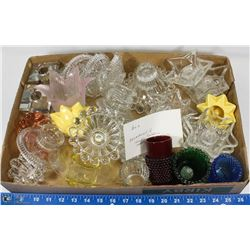 2) ASSORTMENT OF CANDLE HOLDERS MOSTLY CRYSTAL.