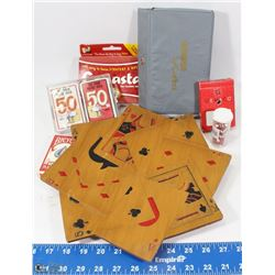 CARD GAME LOT INCLUDES WOODEN CARVED CARD