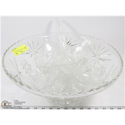 14 PC LARGE GLASS PUNCH BOWL SET