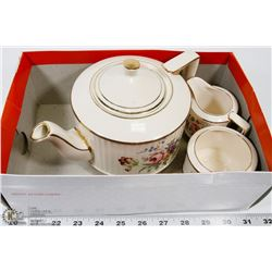 4 PC STAFFORDSHIRE TEA POT WITH CREAM & SUGAR