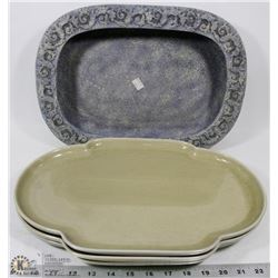 LOT OF 3 DECORATIVE PLATTERS & DECORATIVE PLANTER