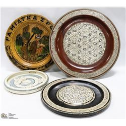 LOT OF WOOD CARVED ARTS PLATES