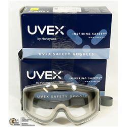 LOT OF 2 UVEX HONEYWELL STEALTH SAFETY GOGGLES W/