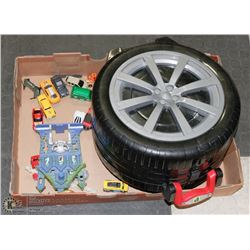 FLAT OF CARS WITH TIRE SHAPED CARRY CASE & PLAY