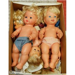 BOX OF VINTAGE DOLLS - SOME BROKEN