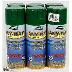 LOT OF 6 AERVOE ANYWAY SPRAY PAINT , ANY DIRECTION