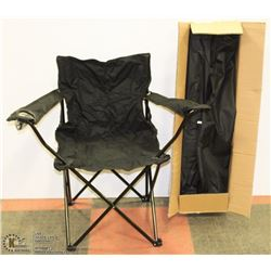 CASE OF 4 NEW FOLDING LAWN CHAIRS (BLACK)