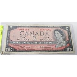 CANADIAN 2 DOLLAR BILL 1954