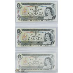 SET OF 3 - 1973 UNC BILLS IN SEQUENCE.