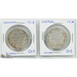 SET OF 2 CANADA FIFTY CENTS; 1918 & 1920.