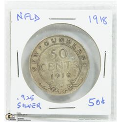NEWFOUNDLAND 1918 FIFTY CENTS.