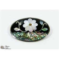 MOTHER OF PEARL INLAY BROOCH IN STERLING SILVER