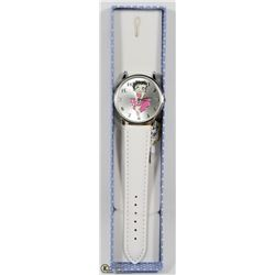 HELLO KITTY WATCH WITH WHITE STRAP.