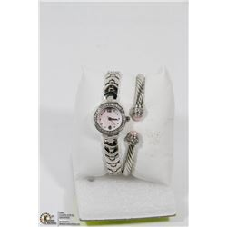 NEW 2PC PINK PEARL BRACELET & WATCH COMBO WITH