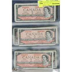 12 PAGE COLLECTION OF CANADIAN TWO DOLLAR BILLS
