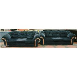 PAIR OF DARK BLUE FABRIC DESIGNER COUCHES