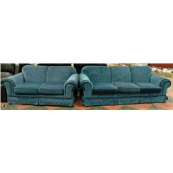 BLUE FABRIC LOVE SEAT & COUCH SET