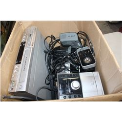 BOX OF ESTATE ELECTRONICS AND SPEAKERS ETC