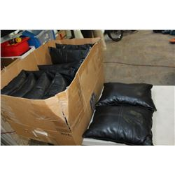 LOT OF BLACK LEATHER THROW PILLOWS