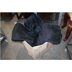 LARGE BOX OF FLEECE BLANKETS AND BEDDING