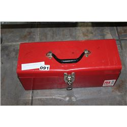 RED TOOLBOX WITH WRENCHES AND TOOLS