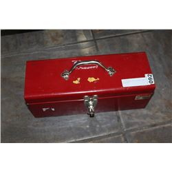RED TOOLBOX WITH SOCKETS AND WRENCHES