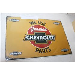 NEW TIN 8 X 12 INCH CHEVROLET SIGN