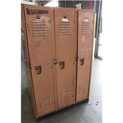 VINTAGE THREE BANK METAL LOCKER