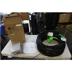 SIX ROLLS OF FIBER OPTIC CABLE AND 6 FIBER OPTIC INTERFACE DEVICES