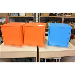 TWO ORANGE METAL STORAGE BOXES AND BLUE METAL STORAGE BOX