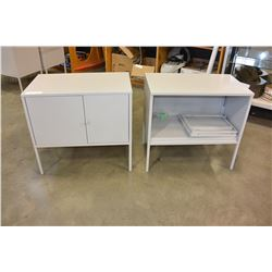 TWO SMALL GREY METAL CABINETS