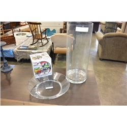 LARGE GLASS VASE AND PLATTER AND CHOPPER