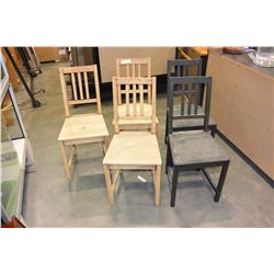 SET OF FIVE PINE DINING CHAIRS