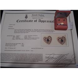 10KT YELLOW GOLD GENUINE SAPPHIRE HEART EARRINGS WITH APPRAISEL $185.00
