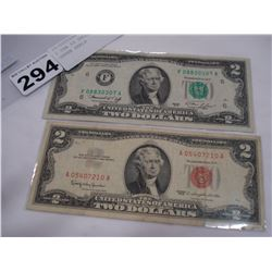2 USA $2 DOLLAR BILLS, RED AND GREEN SEALS