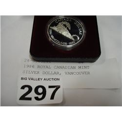 1986 ROYAL CANADIAN MINT SILVER DOLLAR, VANCOUVER