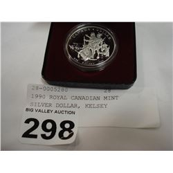 1990 ROYAL CANADIAN MINT SILVER DOLLAR, KELSEY