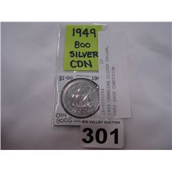 1949 CANADIAN SILVER DOLLAR, VERY GOOD CONDITION