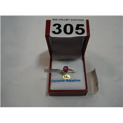 14KT YELLOW GOLD GENUINE PINK PEARL SAPPHIRE RING RETAIL $1200.00