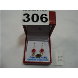 14KT YELLOW GOLD GENUINE RUBY AND MOONSTONE EARRINGS RETAIL $600.00