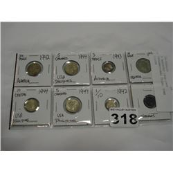 8 ASSORTED 1942-1946 INTERNATIONAL COINS, SOME SILVER