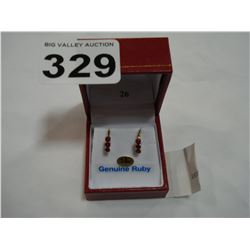 14KT YELLOW GOLD GENUINE RUBY EARRINGS RETAIL $600.00