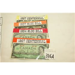 FOUR CANADIAN ONE DOLLAR BILLS
